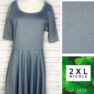 2XL Nicole heavyweight blue/grey denim color dress